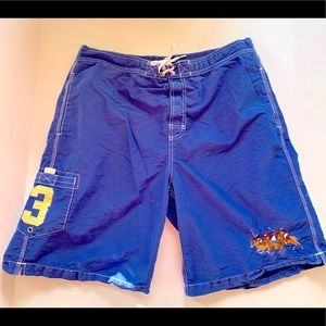 RALPH LAUREN POLO PLAYERS SWIM TRUNKS LARGE BLUE